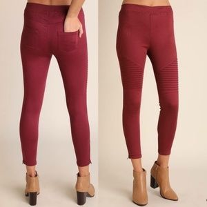 Umgee USA Boutique Burgundy Wine Moto Skinny Pants